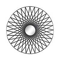 Radial Triangles Round Black Mirror