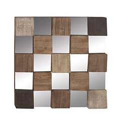 Mirrored Checkerboard Brown and Black Wall Plaque