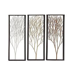 Unique Metal Trees Wall Plaques, Set of 3