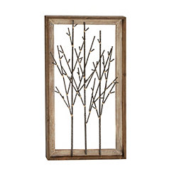 Black Bamboo Metal Branches Framed Wall Plaque