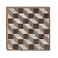 Wood Diagonal Geometric Cubes Wall Plaque