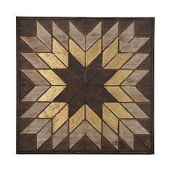 Wood Quilted Starburst Wall Plaque