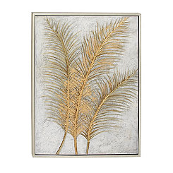 Golden Palm Leaves Framed Canvas Art Print