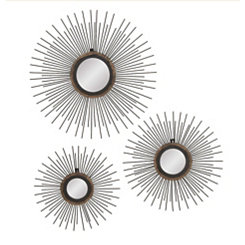 Radial Rods Wall Mirrors, Set of 3