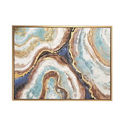 Blue Marbling Agate Framed Canvas Art Print