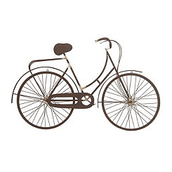 Brown Metal Bicycle Wall Plaque