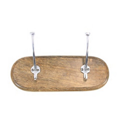 Mango Wood and Aluminum Double Wall Hooks