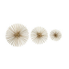 Gold Metal Disc Starburst Wall Plaques, Set of 3