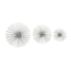 Silver Metal Disc Starburst Wall Plaques, Set of 3