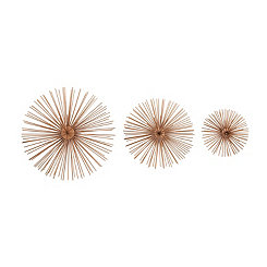Copper Metal Disc Starburst Wall Plaques, Set of 3