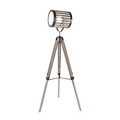 Pine Wood Tripod Spotlight Floor Lamp