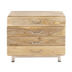 Natural Mango Wood 4-Drawer Chest