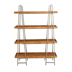A-Frame Wood and Metal 4-Tier Bookshelf