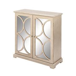 Tan Half-Circle Mirrored 2-Door Cabinet
