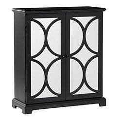 Black Half-Circle Mirrored 2-Door Cabinet