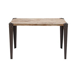 Grommet Corner Iron and Wood Console Table
