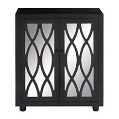 Black Oval Diamond Mirrored 2-Door Cabinet