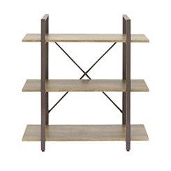 Brown X-Back 3-Tier Bookshelf