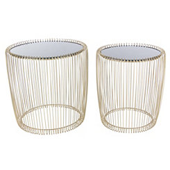 Gold Caged Metal and Glass Accent Tables, Set of 2
