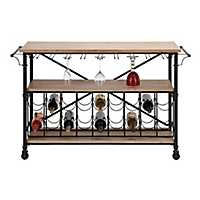 Wood and Metal Console Table with Wine Storage