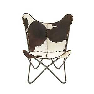 Leather Hide Brown and White Butterfly Sling Chair