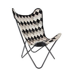 Real Leather Hair Checkered Butterfly Sling Chair