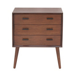 Matte Brown Mid-Century Modern 3-Drawer Chest