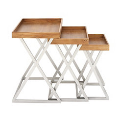 Wood and Metal Tray Top Accent Tables, Set of 3