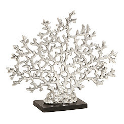 Silver Coral Statue on Wood Base