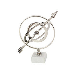 Silver Armillary Statue on Ceramic Base