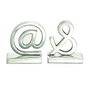 Silver At and Ampersand Bookends, Set of 2