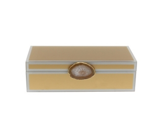 Gold Glass Box with Agate Handle
