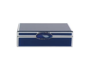 Blue Glass Box with Agate Handle
