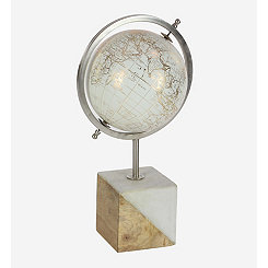 White and Gold Globe on Wood and Marble Base