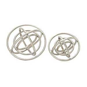 Nickel Finish Ring Orbs, Set of 2