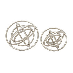 Nickel Finish Ring Orbs, Set of 2