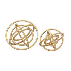 Gold Finish Ring Orbs, Set of 2