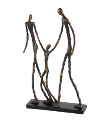Bronze Walking Family Figurine