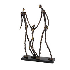 Bronze Walking Family Figurine