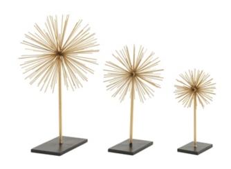 Gold Starburst Sculptures, Set of 3