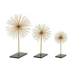 Gold Starburst Sculptures, Set of 3