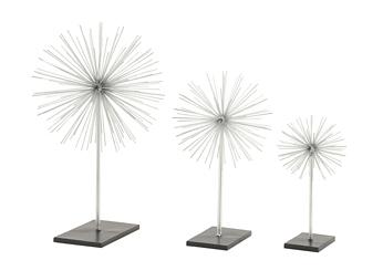 Silver Starburst Sculptures, Set of 3