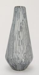 Gray Tapered Teardrop Glass Vase, 18 in.