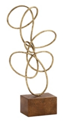 Hammered Gold Twisted Loop Sculpture