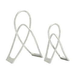 Silver Abstract Loop Sculptures, Set of 2