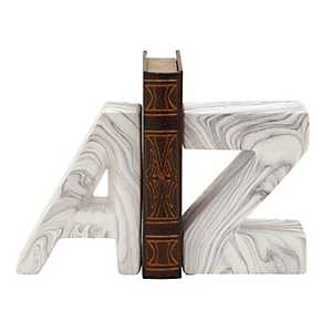 Gray Marble Finish A to Z Bookends, Set of 2