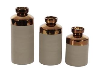 Bronze Neck Ceramic Vases, Set of 3
