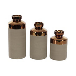 Bronze Neck Ceramic Vases, Set of 3