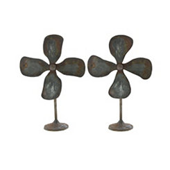 Distressed Metal Fan Statues, Set of 2