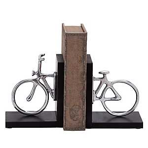 Silver Bicycle Bookends, Set of 2